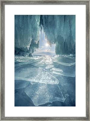 The Blue Ice Cave At Lake Baikal Framed Print by Coolbiere Photograph