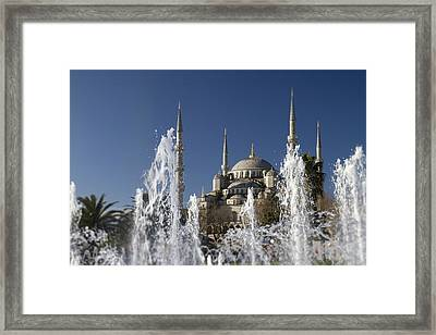 The Blue Mosque Plus Fountain Framed Print