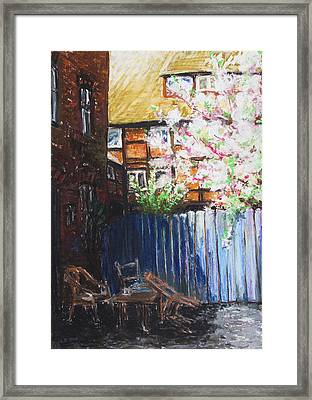The Blue Paling - Backyard Of The Arthouse Buetzow Framed Print by Barbara Pommerenke