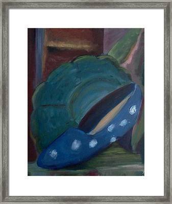 The Blue Shoe And The Plate 2 Framed Print by Darlene Berger
