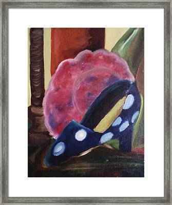 The Blue Shoe And The Plate Framed Print by Darlene Berger