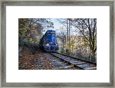 The Blue Train Framed Print by Debra and Dave Vanderlaan