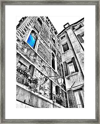The Blue Window In Venice - Italy Framed Print by Marianna Mills