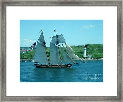 American Tall Ship Sails Past Mcnabs Island Framed Print