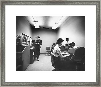 The Boac Teletype Room At Jfk Framed Print by Underwood Archives