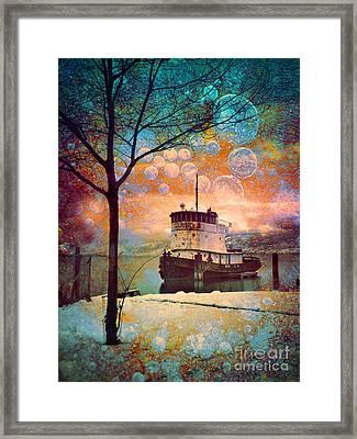 The Boat In Winter Framed Print by Tara Turner
