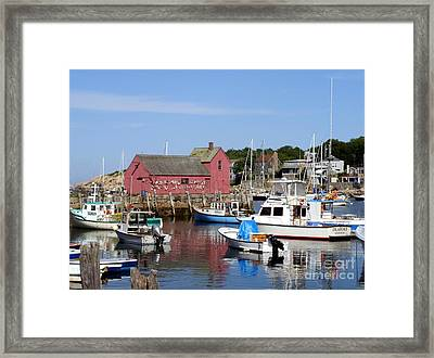 The Boat Yard At Rockport Framed Print by Mary Lou Chmura