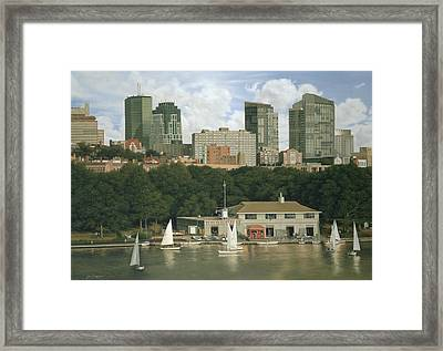 The Boathouse - Charles River Boston Framed Print by Julia O'Malley-Keyes