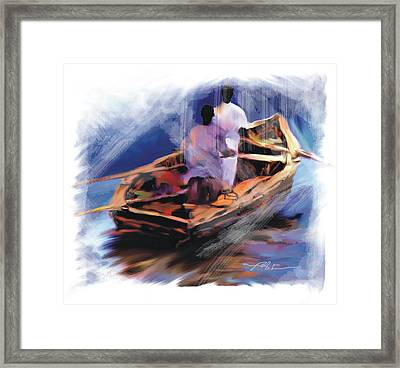 Framed Print featuring the painting The  Boatmen by Bob Salo