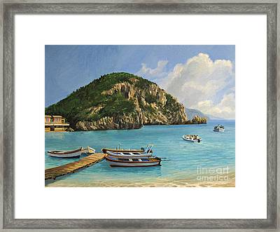 The Boats Of Paleokastritsa Framed Print by Kiril Stanchev