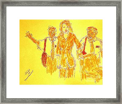 The Book Of Mormon Gold Missionaries 100 Framed Print by Richard W Linford