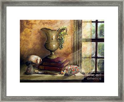 The Books By The Window Framed Print by Sandra Aguirre