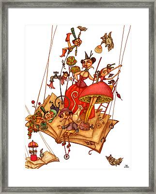 The Books World Framed Print by Autogiro Illustration