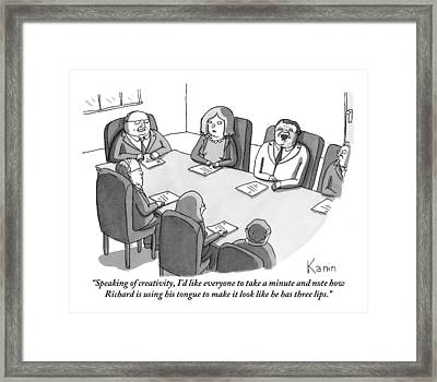 The Boss At An Executive Meeting Points Out An Framed Print