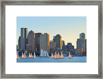 The Boston Skyline From East Boston Framed Print by Toby McGuire