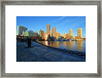 The Boston Waterfront In Morning Light Framed Print by Toby McGuire