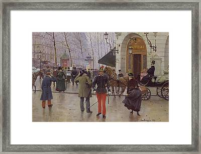 The Boulevard Des Capucines And The Vaudeville Theatre Framed Print