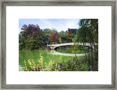 The Bow Bridge In Central Park In Autumn Colors Framed Print by Ellie Teramoto