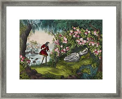The Bower Of Roses Circa 1856 Framed Print by Aged Pixel