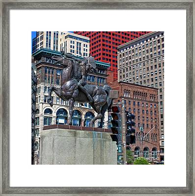 The Bowman - Chicago Indian Statue - 01 Framed Print by Gregory Dyer