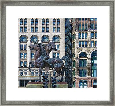 The Bowman - Chicago Indian Statue - 02 Framed Print by Gregory Dyer