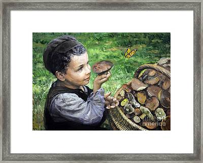 The Boy In The Woods Framed Print by Eugene Maksim