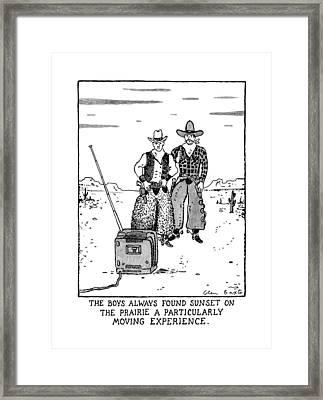 The Boys Allways Found Sunset On The Prairie Framed Print