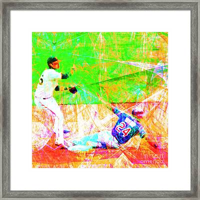 The Boys Of Summer 5d28208 The Double Play Square Framed Print by Wingsdomain Art and Photography