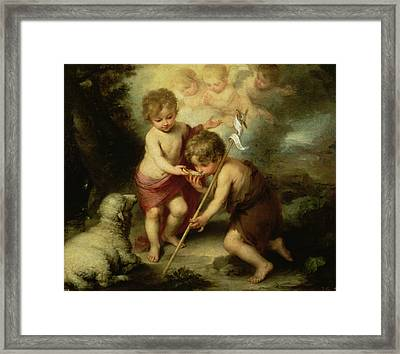 The Boys With The Shell, C.1670 Oil On Canvas Framed Print by Bartolome Esteban Murillo