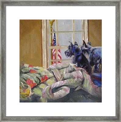 The Boyz And The Flag Framed Print