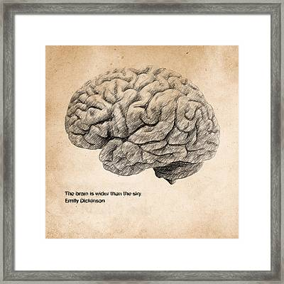 The Brain Is Wider Than The Sky Framed Print by Taylan Apukovska
