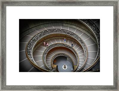 The Bramante Staircase In Vatican Framed Print by Dragos Cosmin Photos