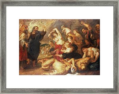 The Brazen Serpent, C.1635-40 Oil On Canvas Framed Print by Peter Paul Rubens