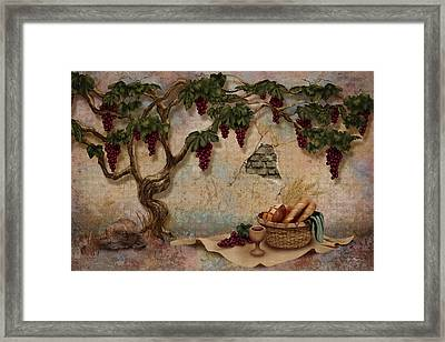 The Bread And The Vine Framed Print by April Moen