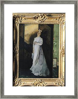 The Break-up Letter, C.1867 Oil On Canvas Framed Print by Alfred Emile Stevens