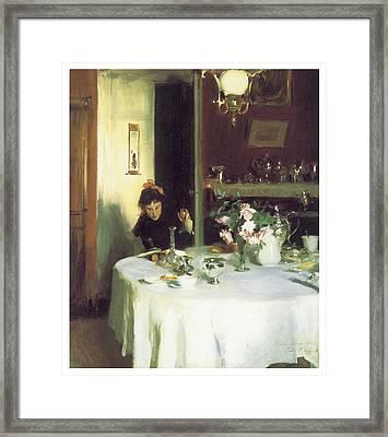 The Breakfast Table Framed Print by John Singer Sargent