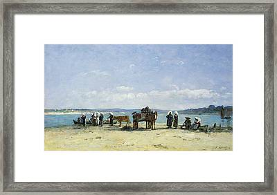 The Breton Fishermens Wives Framed Print by Eugene Louis Boudin