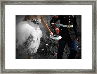 The Bride And The Marine Framed Print by Carey Dils