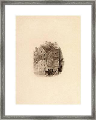 The Bridge Of Sighs, Venice, C.1832 Engraving Framed Print