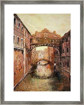 The Bridge Of Sighs Venice Italy Framed Print