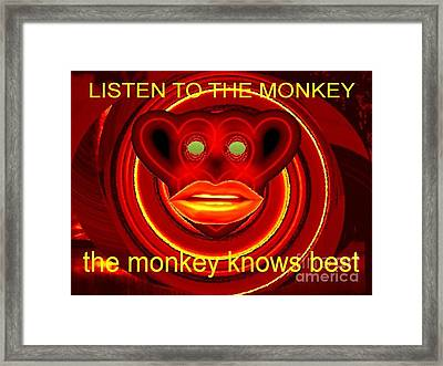 The Broadcast Monkey Framed Print by Catherine Lott
