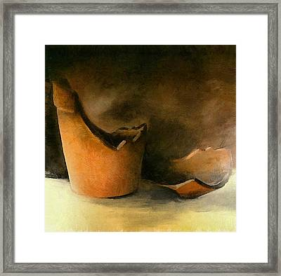 The Broken Terracotta Pot Framed Print by Michelle Calkins