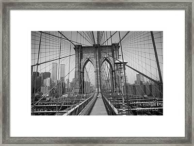 The Brooklyn Bridge Before Nine Eleven Framed Print by Steven Spak