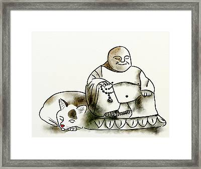 The Buddha And The Cat Framed Print by Brett Shand