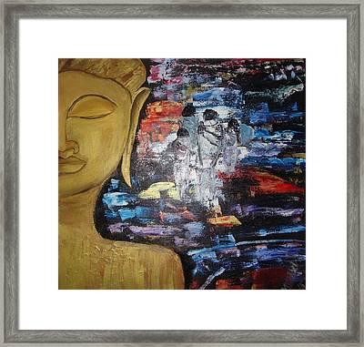 The Buddha Way Framed Print by Meenakshi Chatterjee
