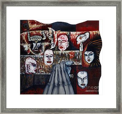 Framed Print featuring the painting The Buddhism Conception And The Human World by Fei A