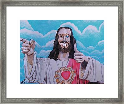 The Buddy Christ Framed Print by Jeremy Moore