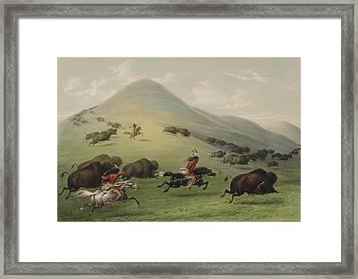 The Buffalo Hunt Framed Print by George Catlin