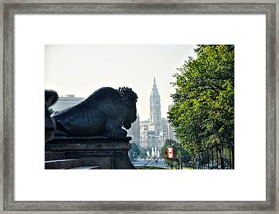 The Buffalo Statue On The Parkway Framed Print