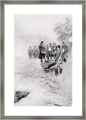 The Burial Of Braddock, Illustration From Colonel Washington By Woodrow Wilson, Pub. In Harpers Framed Print by Howard Pyle